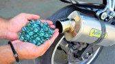 آزمایش 100 تیله در اگزوز موتورسیکلت