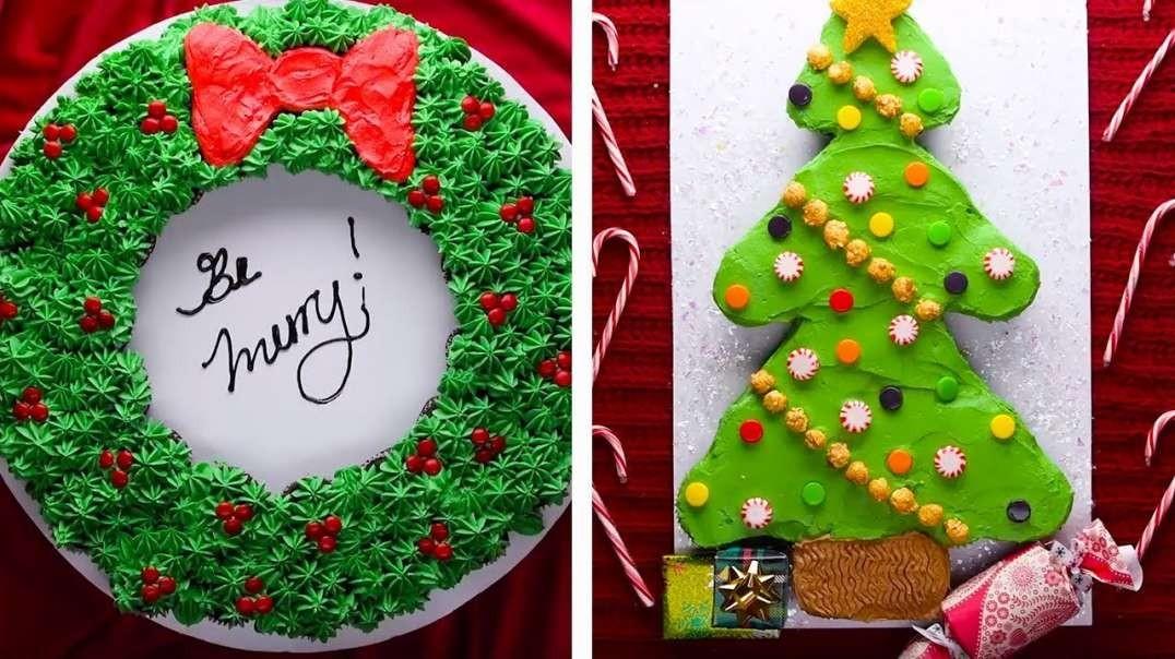 ایده های تزیین راحت کیک کریسمس در خانه