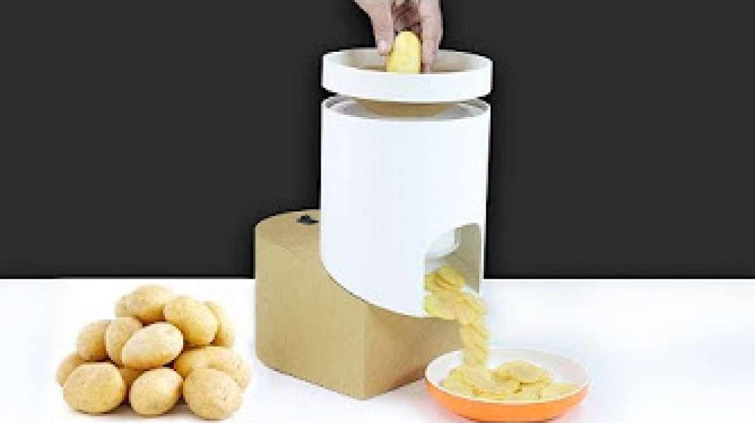 ساخت دستگاه  برش دایره ای  سیب زمینی با مقوا