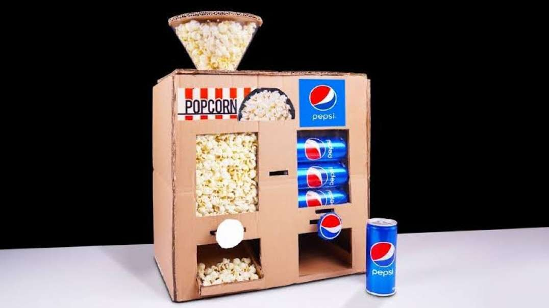 ساخت دستگاه پاپ کورن و پپسی با مقوا